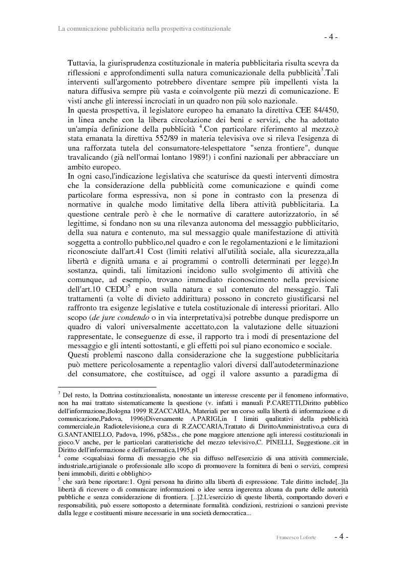 Anteprima della tesi: La comunicazione pubblicitaria nella prospettiva costituzionale, Pagina 4
