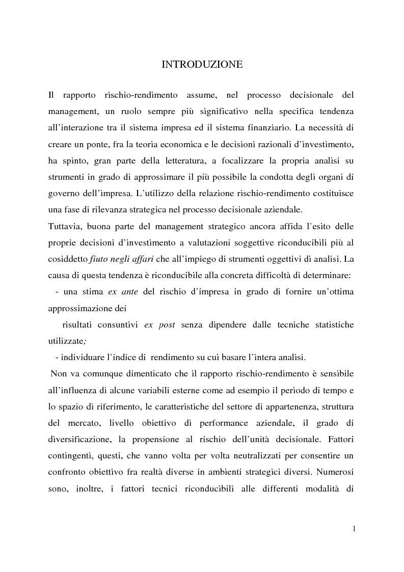 Anteprima della tesi: Il profilo rischio/rendimento nell'approccio sistemico, Pagina 1