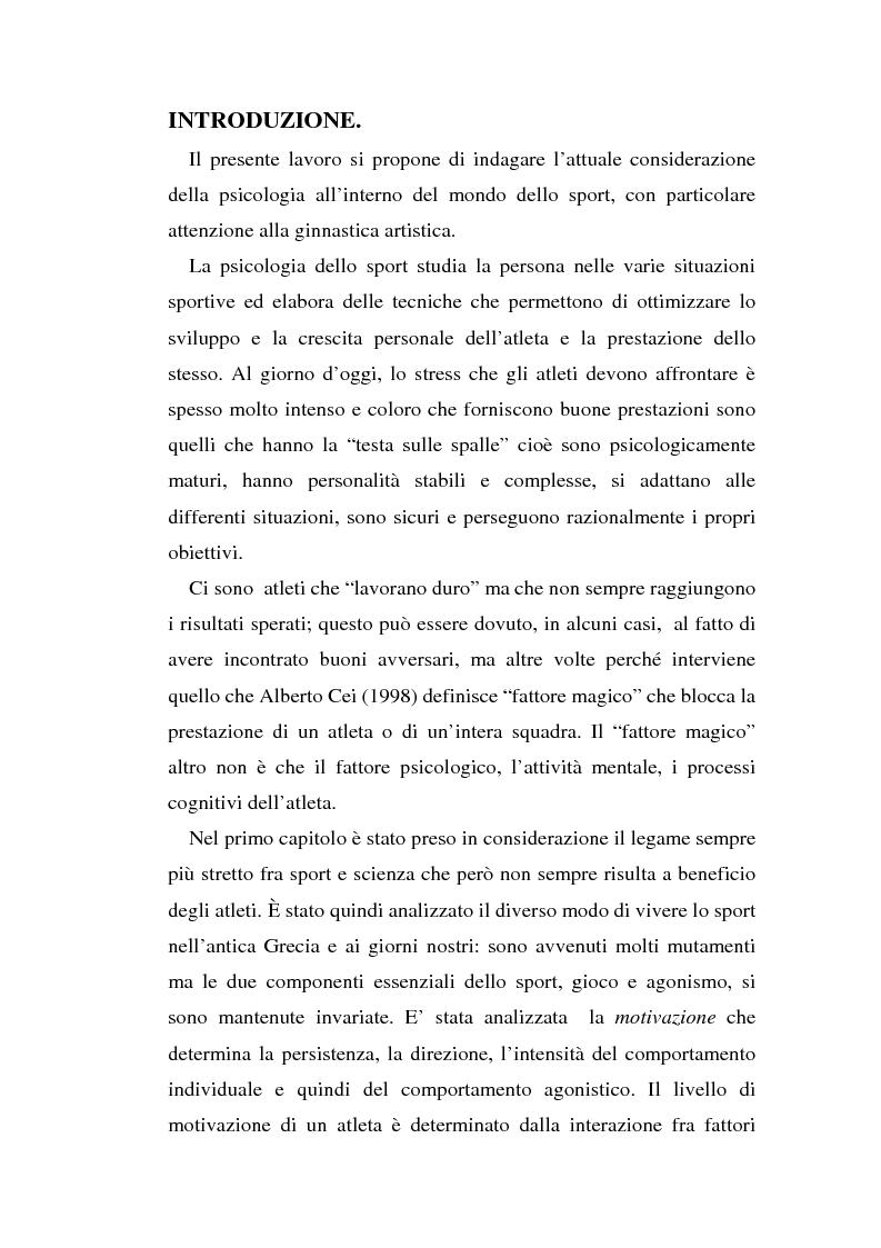 Anteprima della tesi: Relazioni sociali e immagine di sè: aspetti psicologici nella ginnastica artistica agonistica, Pagina 1