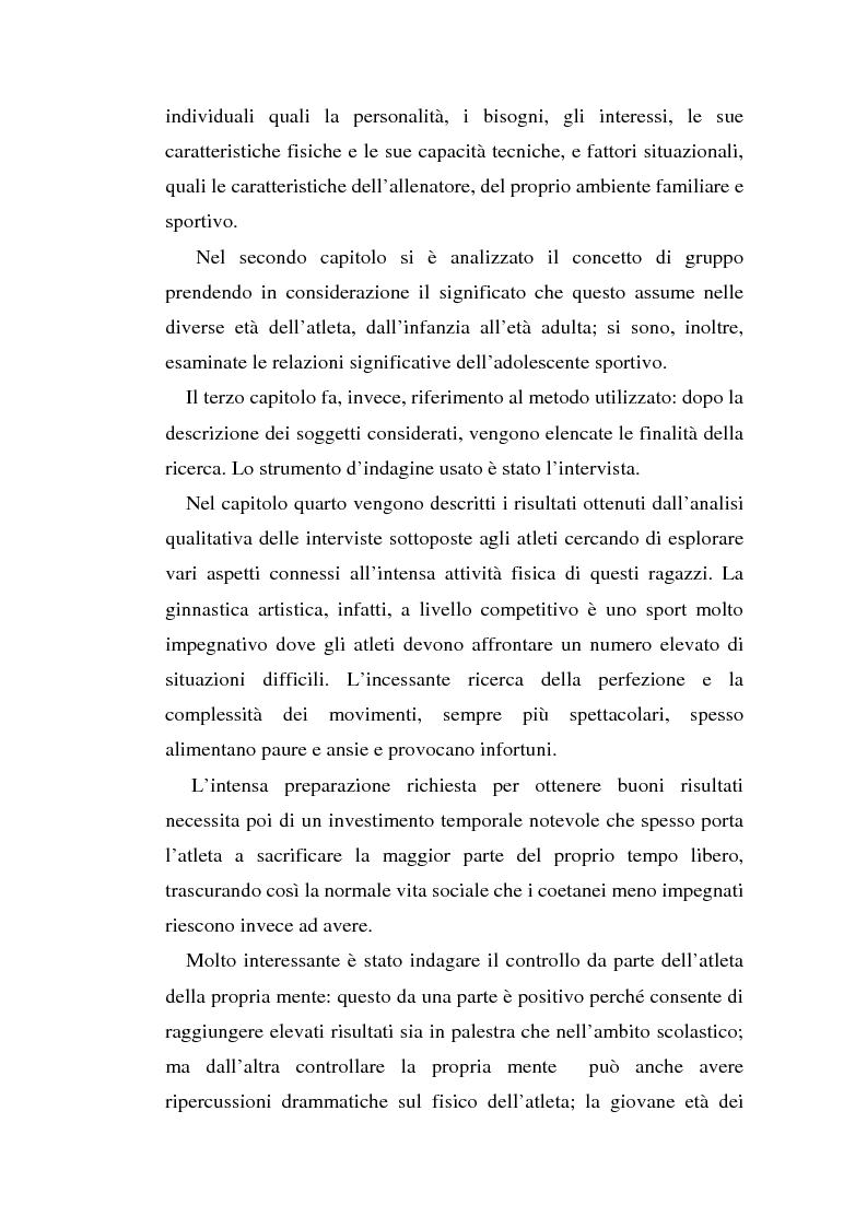 Anteprima della tesi: Relazioni sociali e immagine di sè: aspetti psicologici nella ginnastica artistica agonistica, Pagina 2