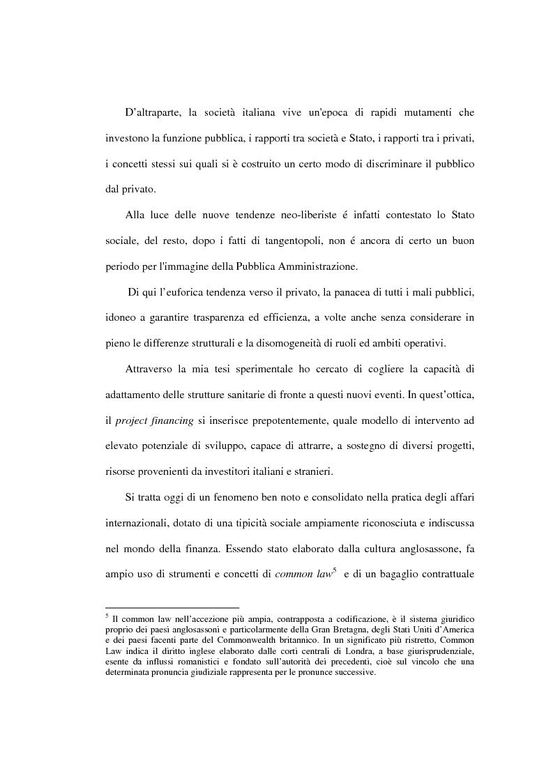 Anteprima della tesi: Le prospettive di applicazione del project financing al settore ospedaliero italiano, Pagina 7