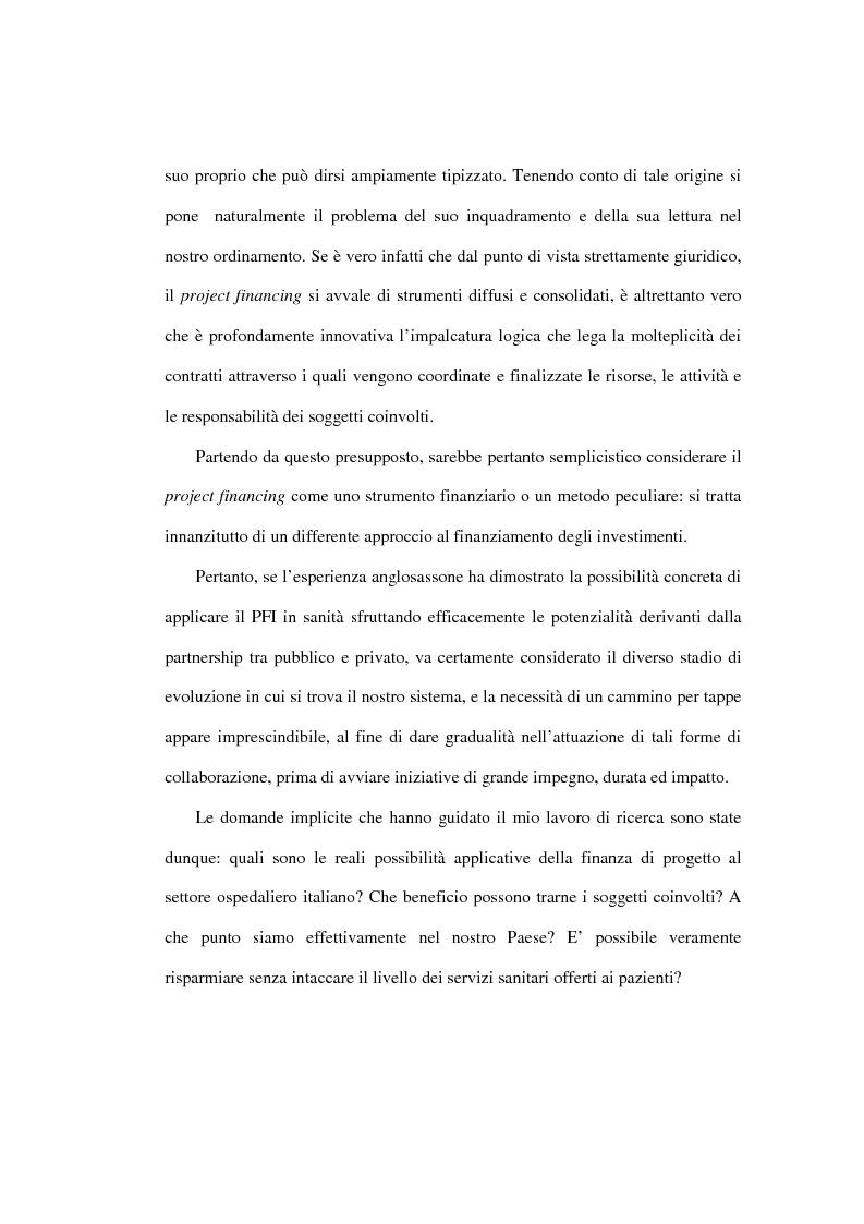 Anteprima della tesi: Le prospettive di applicazione del project financing al settore ospedaliero italiano, Pagina 8