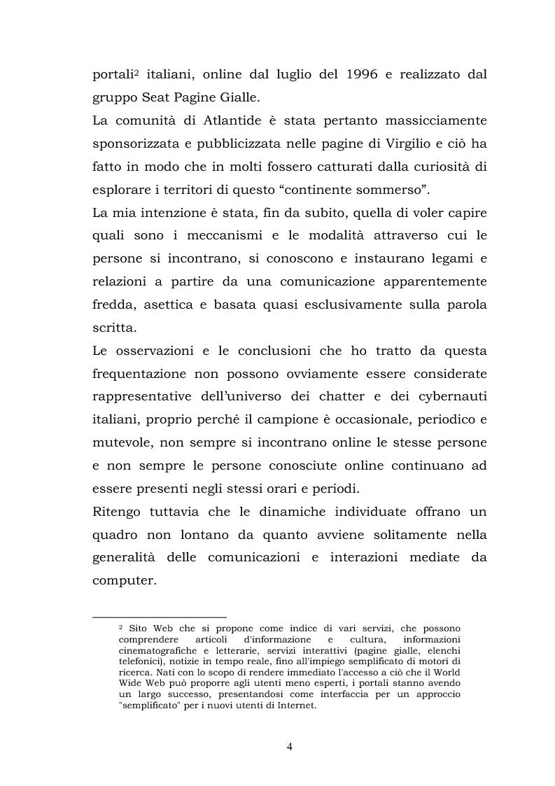 Anteprima della tesi: La costruzione della socialità online: il caso di Atlantide e C6, Pagina 4
