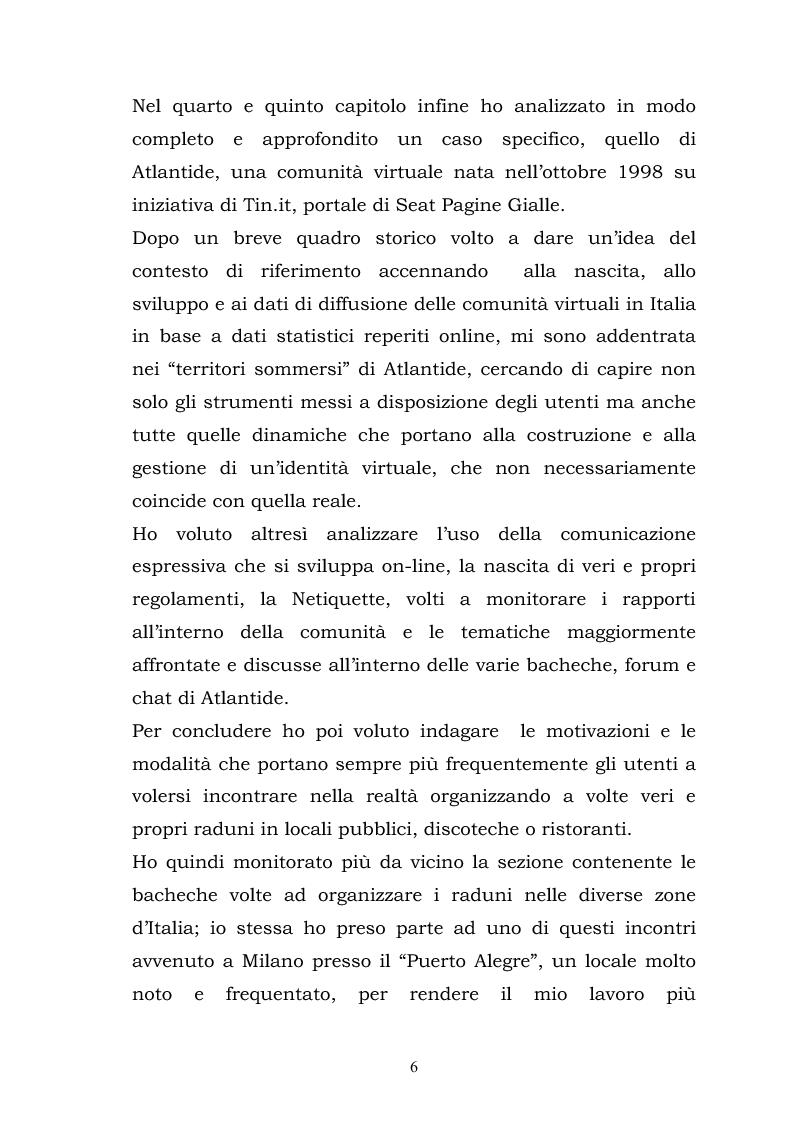 Anteprima della tesi: La costruzione della socialità online: il caso di Atlantide e C6, Pagina 6