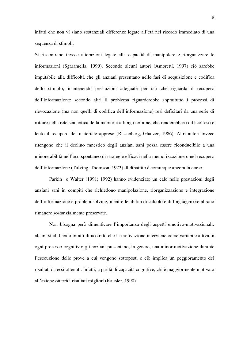 Anteprima della tesi: Deficit di aggiornamento della memoria di lavoro nel deterioramento cognitivo lieve, Pagina 6