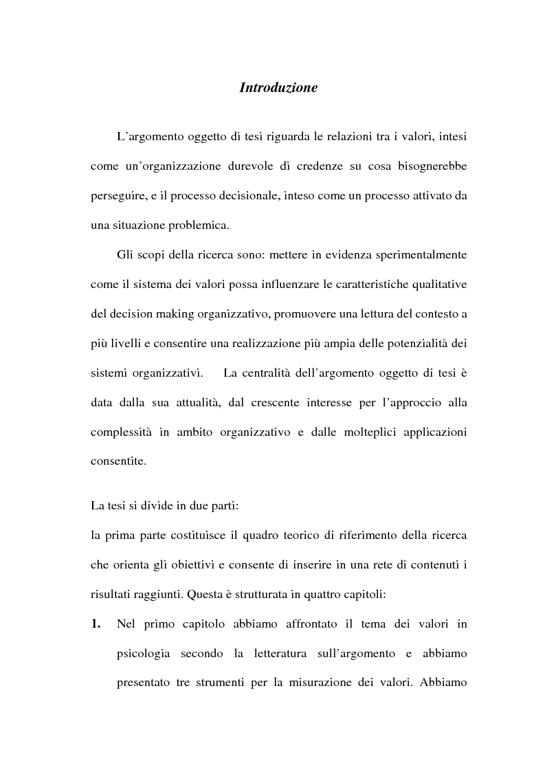 Anteprima della tesi: I valori e il processo decisionale nelle organizzazioni, Pagina 4