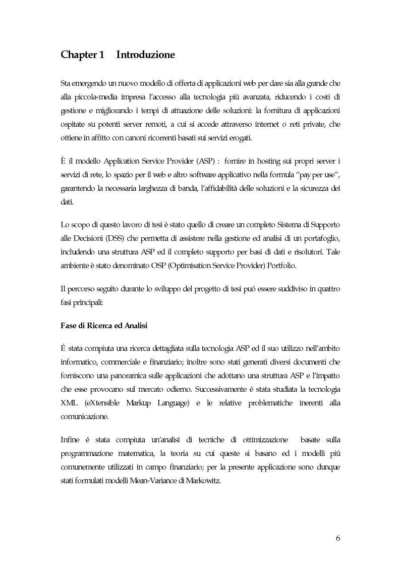 Anteprima della tesi: Sistema di gestione del portafoglio basato su architettura Application Service Provider, Pagina 1