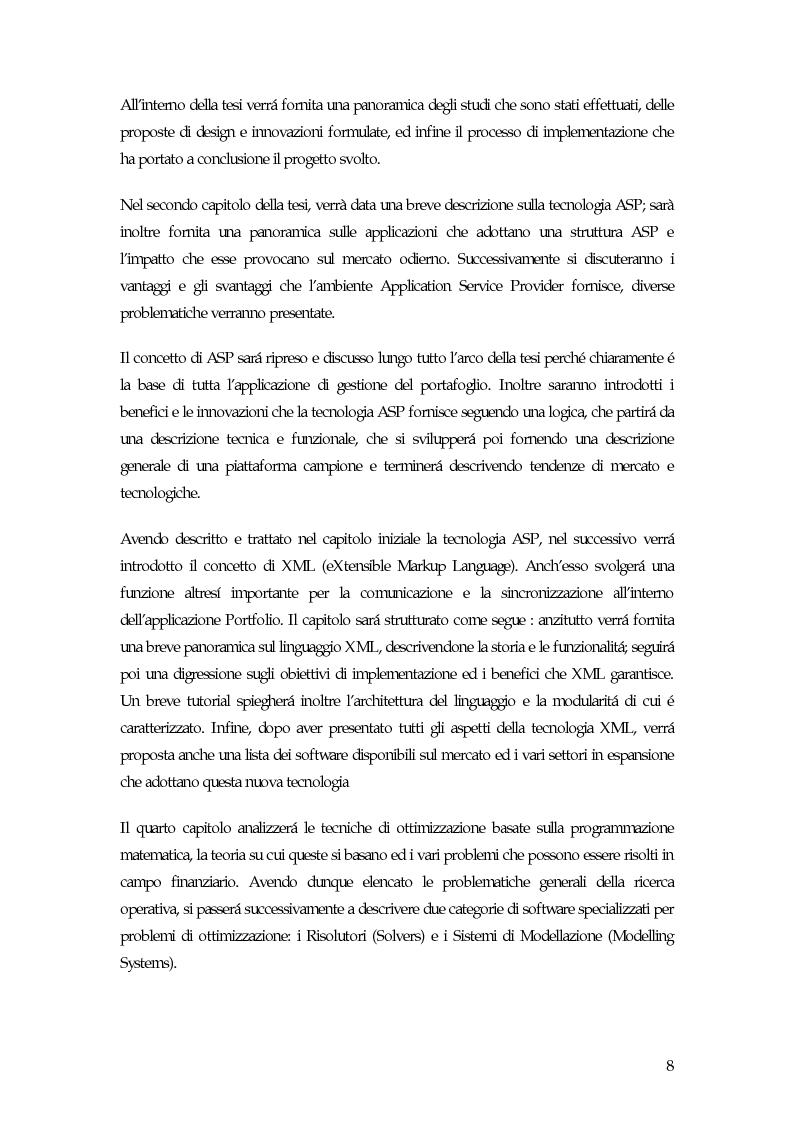 Anteprima della tesi: Sistema di gestione del portafoglio basato su architettura Application Service Provider, Pagina 3
