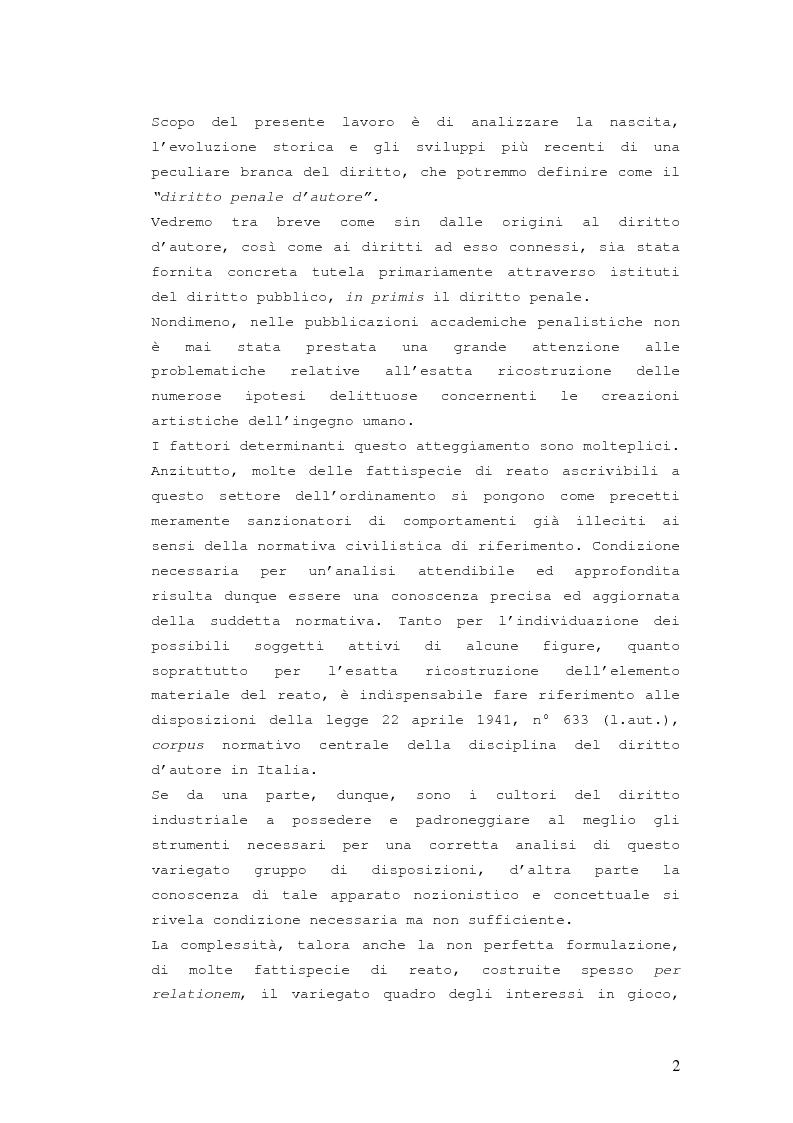 Anteprima della tesi: Responsabilità penale in materia di violazione del diritto d'autore, Pagina 1
