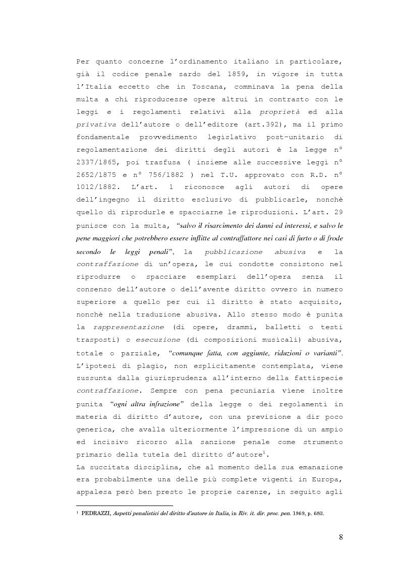 Anteprima della tesi: Responsabilità penale in materia di violazione del diritto d'autore, Pagina 7