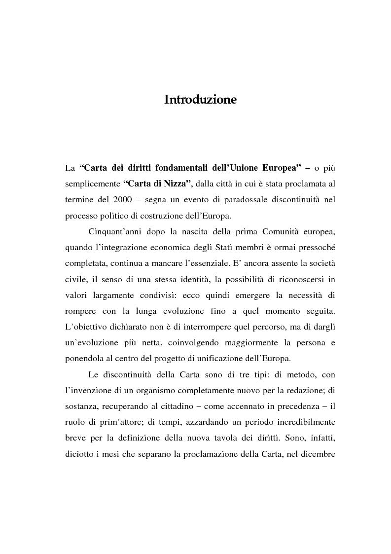 Anteprima della tesi: La Carta di Nizza e i rapporti di lavoro, Pagina 1