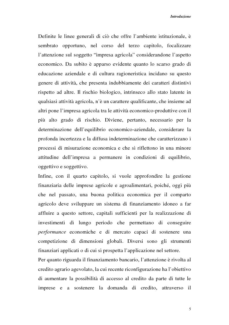 Anteprima della tesi: Profili di gestione finanziaria delle imprese agricole, Pagina 5