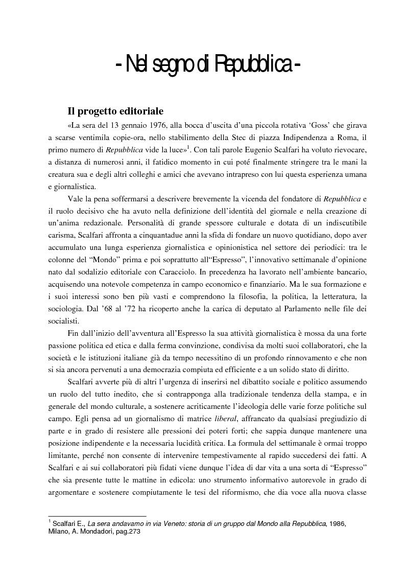 Anteprima della tesi: La prima e la seconda Repubblica. Un'analisi sulla nascita e l'evoluzione del quotidiano La Repubblica: da E. Scalfari a E. Mauro, Pagina 3