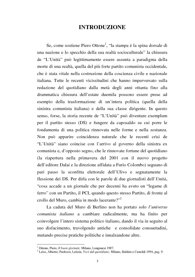Anteprima della tesi: Le trasformazioni culturali e strutturali de ''L'Unità'', Pagina 1