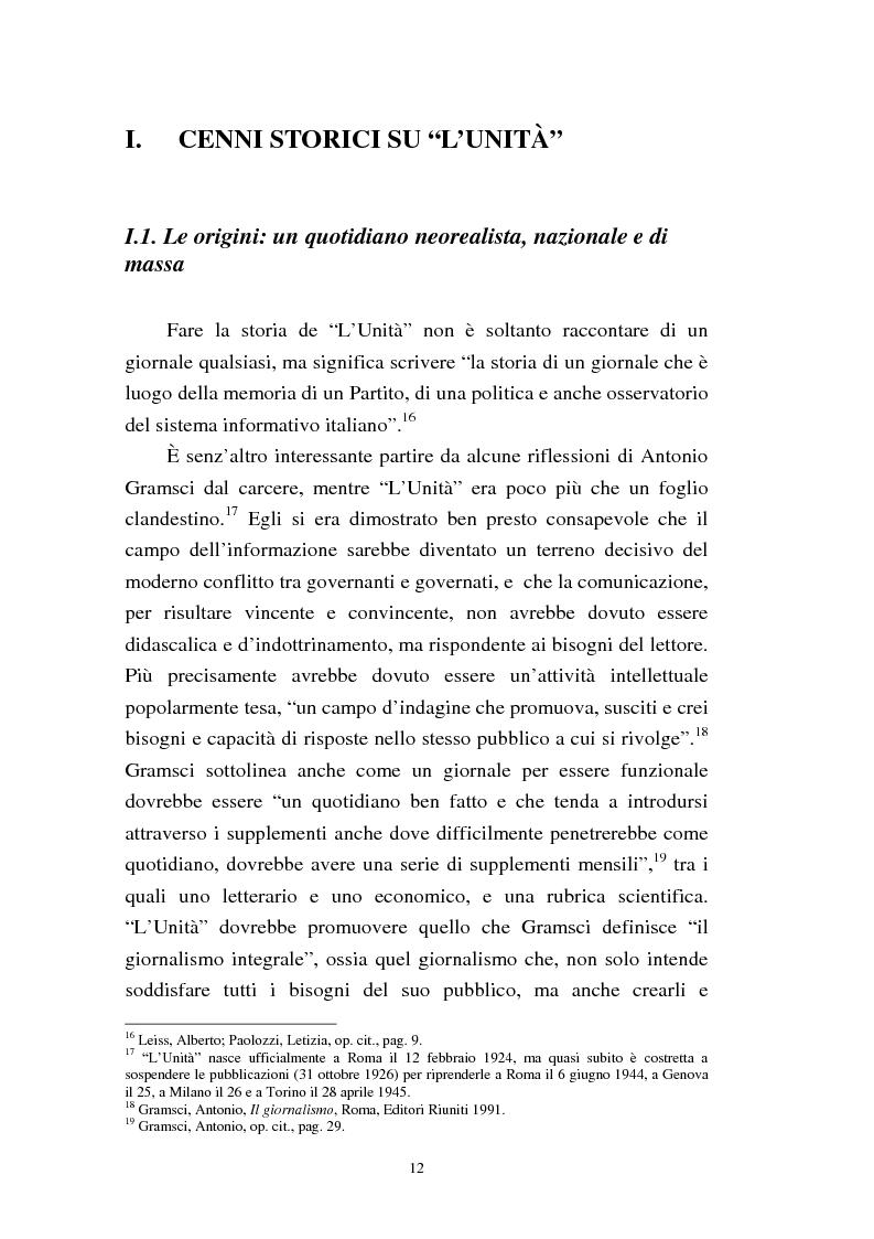Anteprima della tesi: Le trasformazioni culturali e strutturali de ''L'Unità'', Pagina 10