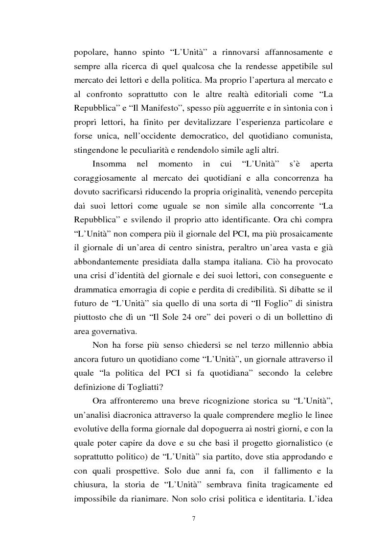 Anteprima della tesi: Le trasformazioni culturali e strutturali de ''L'Unità'', Pagina 5
