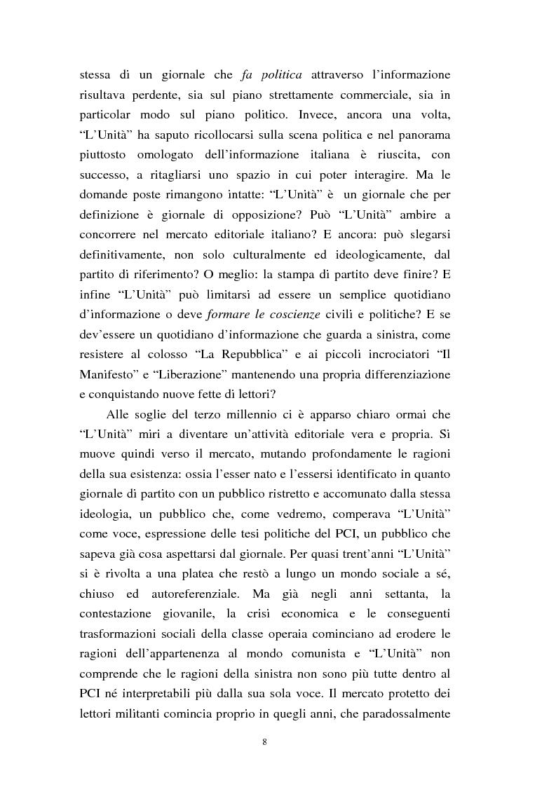 Anteprima della tesi: Le trasformazioni culturali e strutturali de ''L'Unità'', Pagina 6