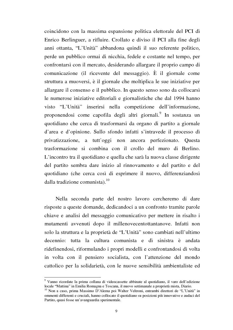 Anteprima della tesi: Le trasformazioni culturali e strutturali de ''L'Unità'', Pagina 7