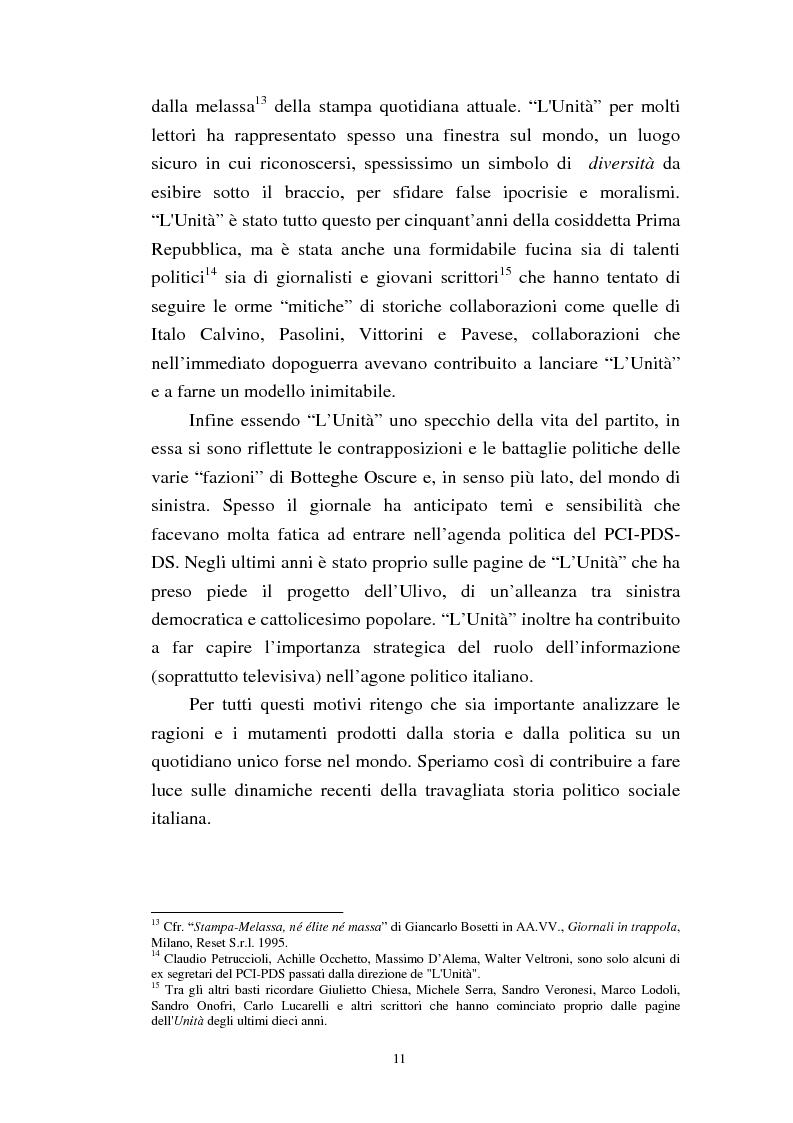Anteprima della tesi: Le trasformazioni culturali e strutturali de ''L'Unità'', Pagina 9