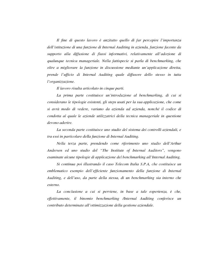 Anteprima della tesi: Il potere del benchmarking per l'internal auditing: il caso Telecom Italia Spa, Pagina 4