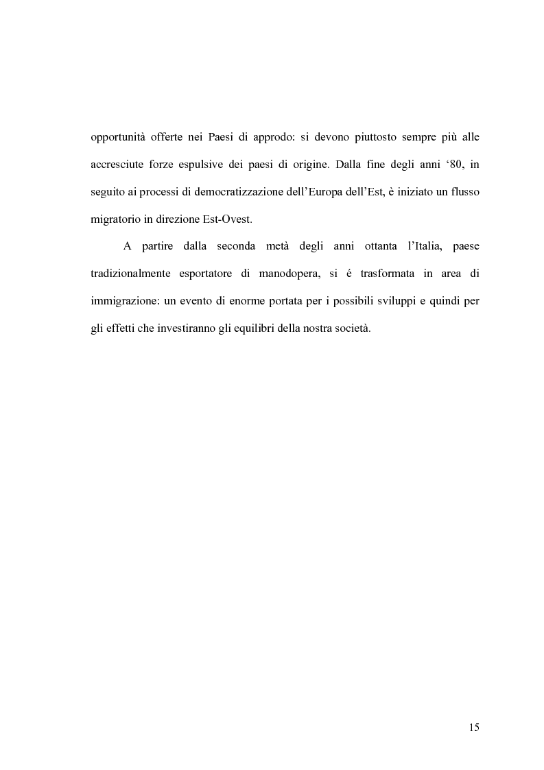 Anteprima della tesi: Popolazione e mobilità: l'immigrazione in Italia e in Sardegna, Pagina 13