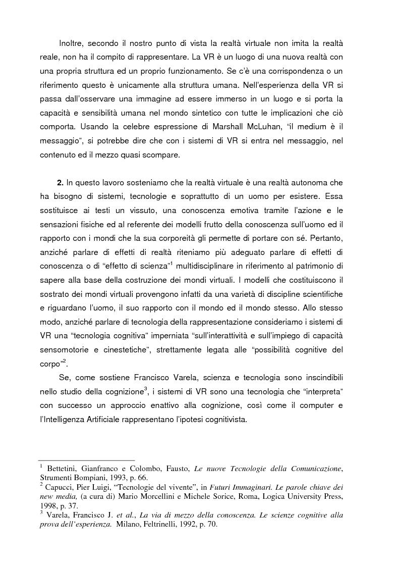 Anteprima della tesi: Un mondo di carne artificiale: realtà virtuale, epistemologia e scienze cognitive. Applicazione della teoria enattiva della cognizione nella spiegazione dei sistemi immersivi di realtà virtuale, Pagina 2