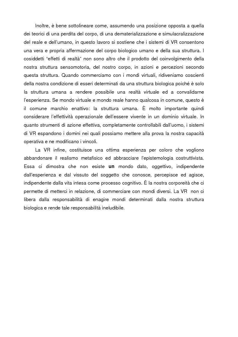 Anteprima della tesi: Un mondo di carne artificiale: realtà virtuale, epistemologia e scienze cognitive. Applicazione della teoria enattiva della cognizione nella spiegazione dei sistemi immersivi di realtà virtuale, Pagina 4