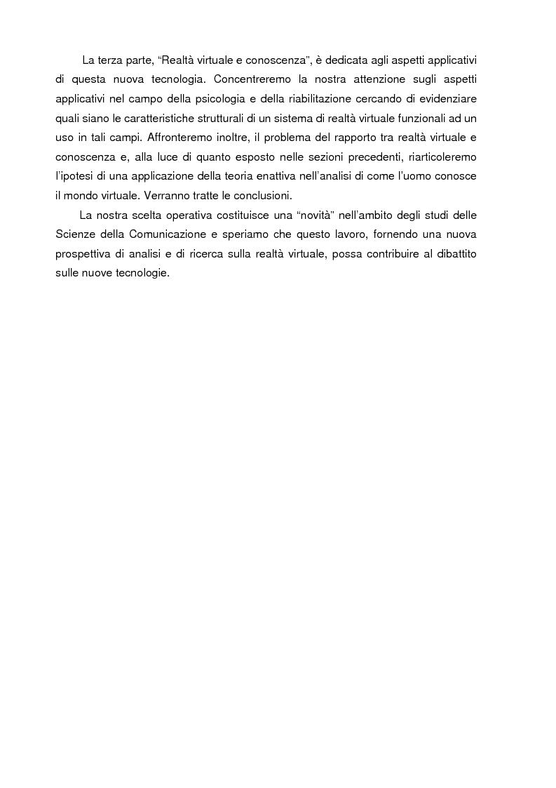 Anteprima della tesi: Un mondo di carne artificiale: realtà virtuale, epistemologia e scienze cognitive. Applicazione della teoria enattiva della cognizione nella spiegazione dei sistemi immersivi di realtà virtuale, Pagina 6