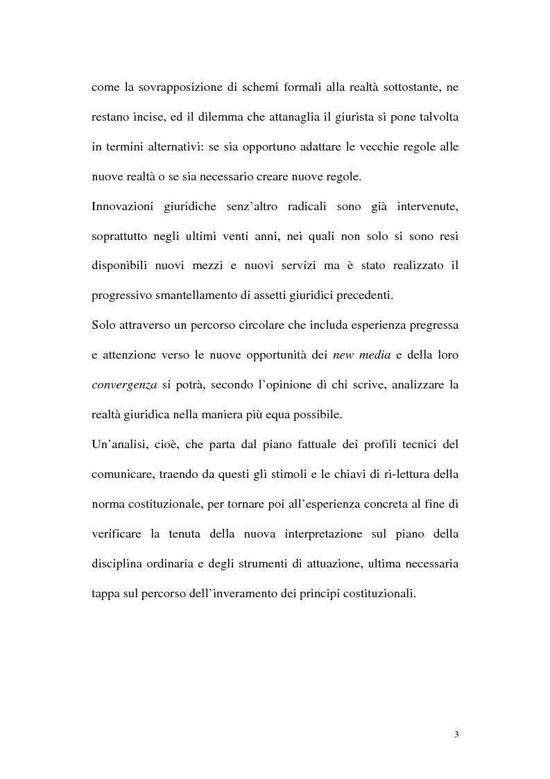 Anteprima della tesi: Il diritto alla comunicazione nel nuovo panorama tecnologico della convergenza multimediale, Pagina 2