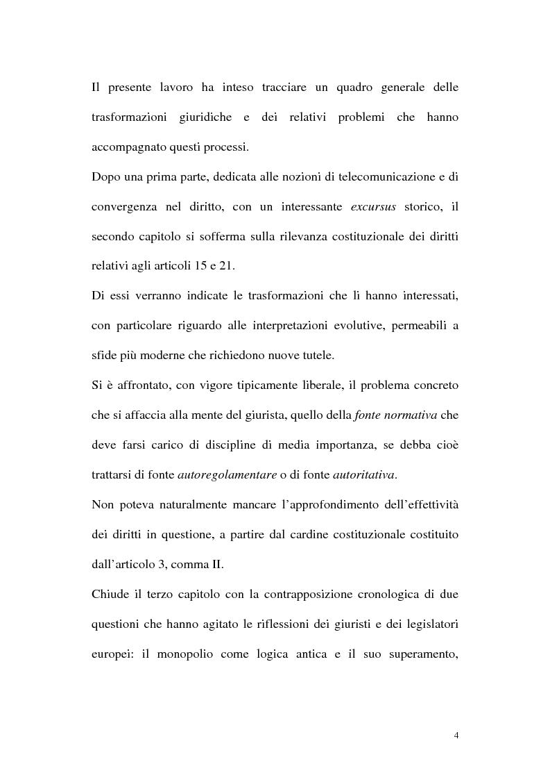 Anteprima della tesi: Il diritto alla comunicazione nel nuovo panorama tecnologico della convergenza multimediale, Pagina 3