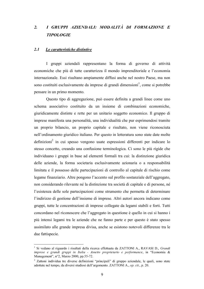 Anteprima della tesi: I gruppi: una realtà emergente ed il bilancio consolidato come sistema informativo. Il caso Hotel Together, Pagina 13