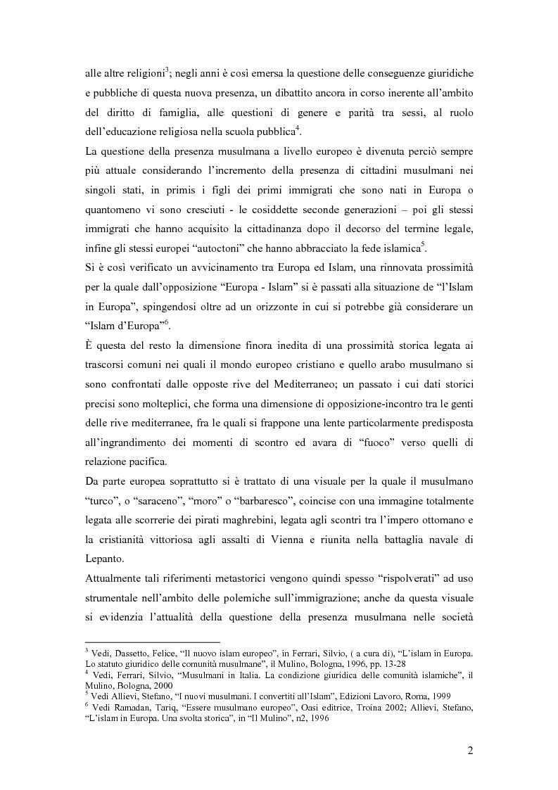 Anteprima della tesi: La presenza musulmana nel Friuli-Venezia Giulia: tra reminiscenza storica e nuova immigrazione, Pagina 2
