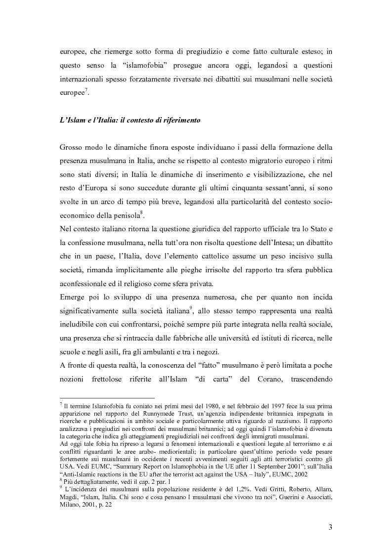 Anteprima della tesi: La presenza musulmana nel Friuli-Venezia Giulia: tra reminiscenza storica e nuova immigrazione, Pagina 3