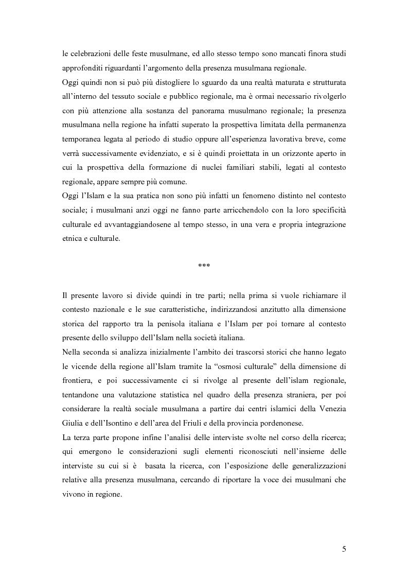 Anteprima della tesi: La presenza musulmana nel Friuli-Venezia Giulia: tra reminiscenza storica e nuova immigrazione, Pagina 5
