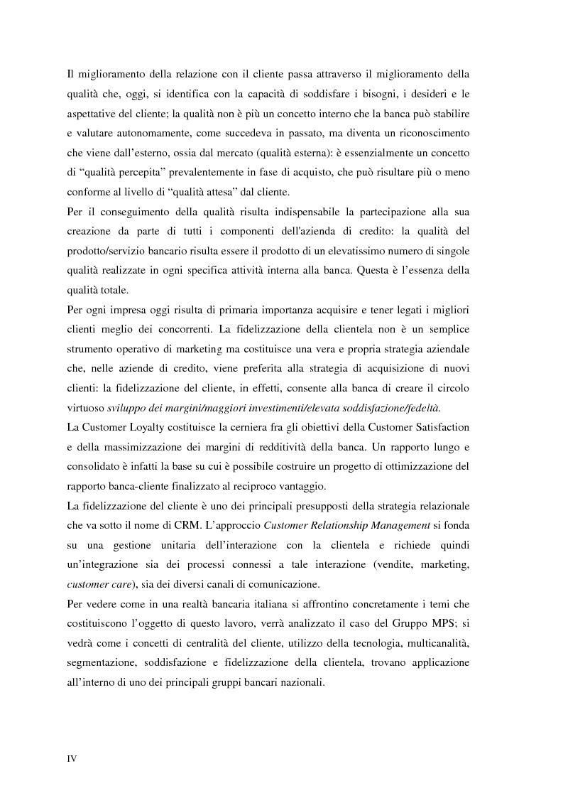 Anteprima della tesi: Segmenti di mercato e fidelizzazione della clientela bancaria. Il caso Gruppo Monte dei Paschi di Siena, Pagina 4