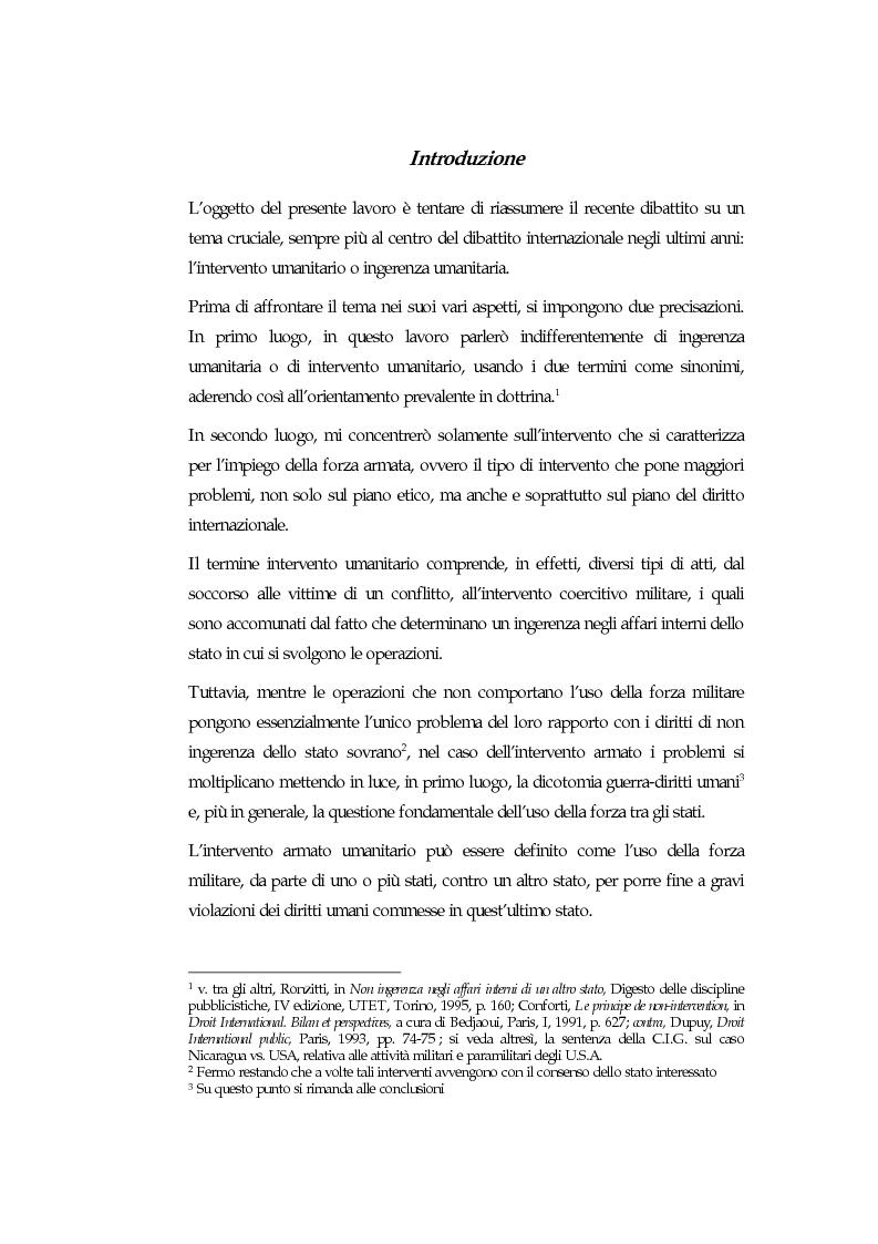 Anteprima della tesi: Sovranità, diritti umani e uso della forza: l'intervento armato ''umanitario'', Pagina 1