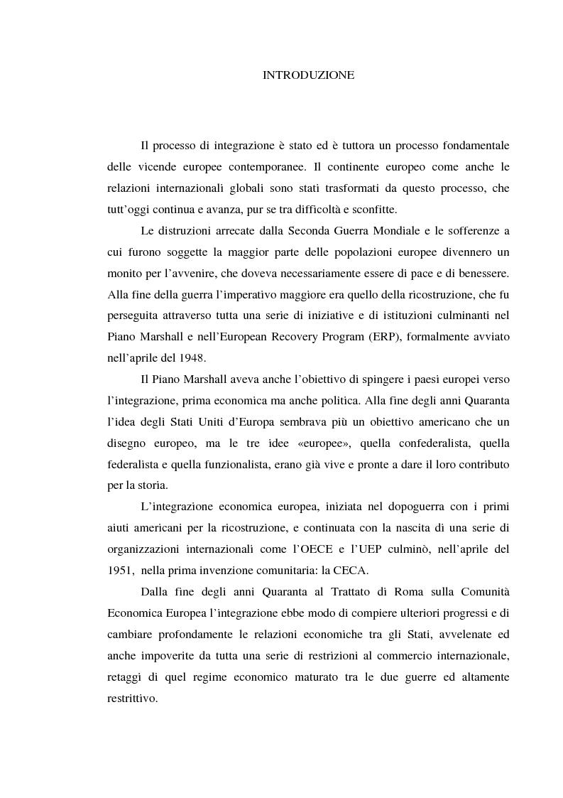 Anteprima della tesi: Alle origini del miracolo economico italiano? L'Italia e l'unione doganale della Comunità Economica Europea 1958-1968, Pagina 1