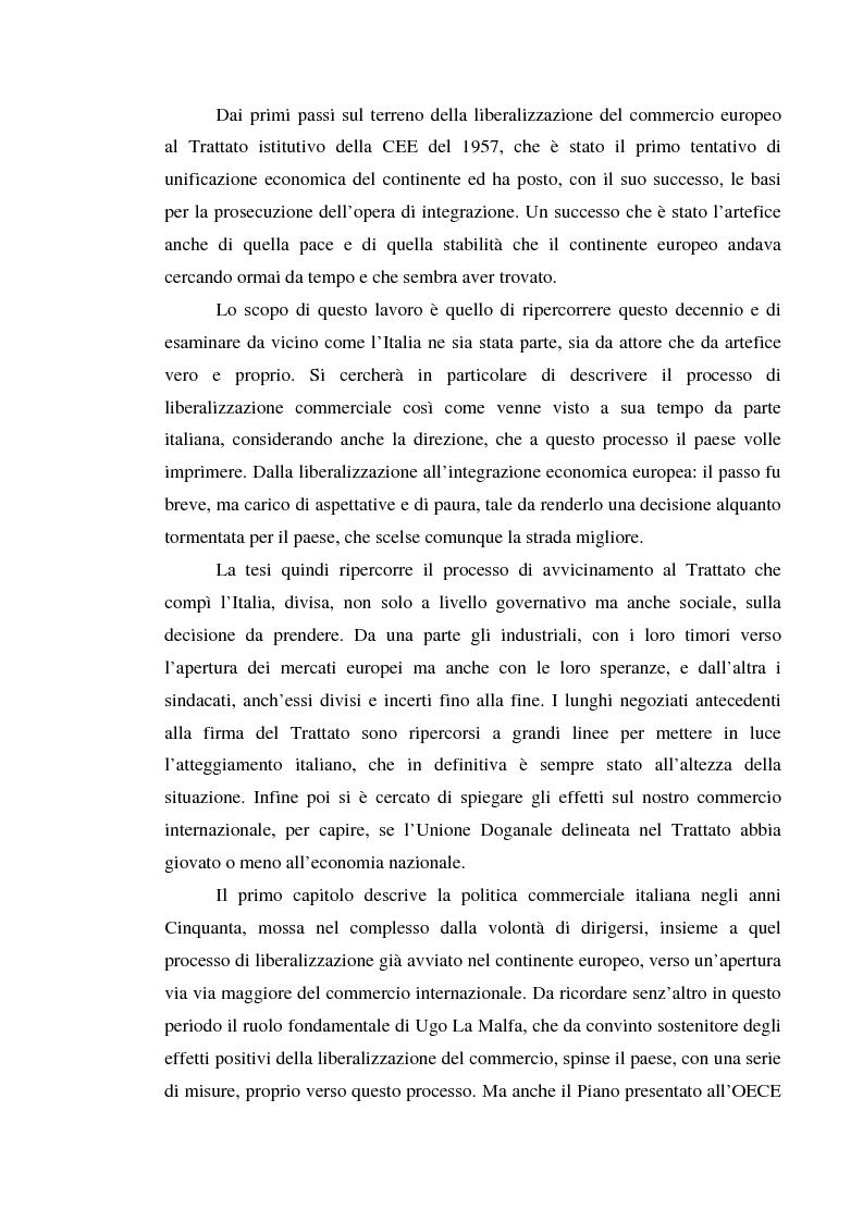 Anteprima della tesi: Alle origini del miracolo economico italiano? L'Italia e l'unione doganale della Comunità Economica Europea 1958-1968, Pagina 2