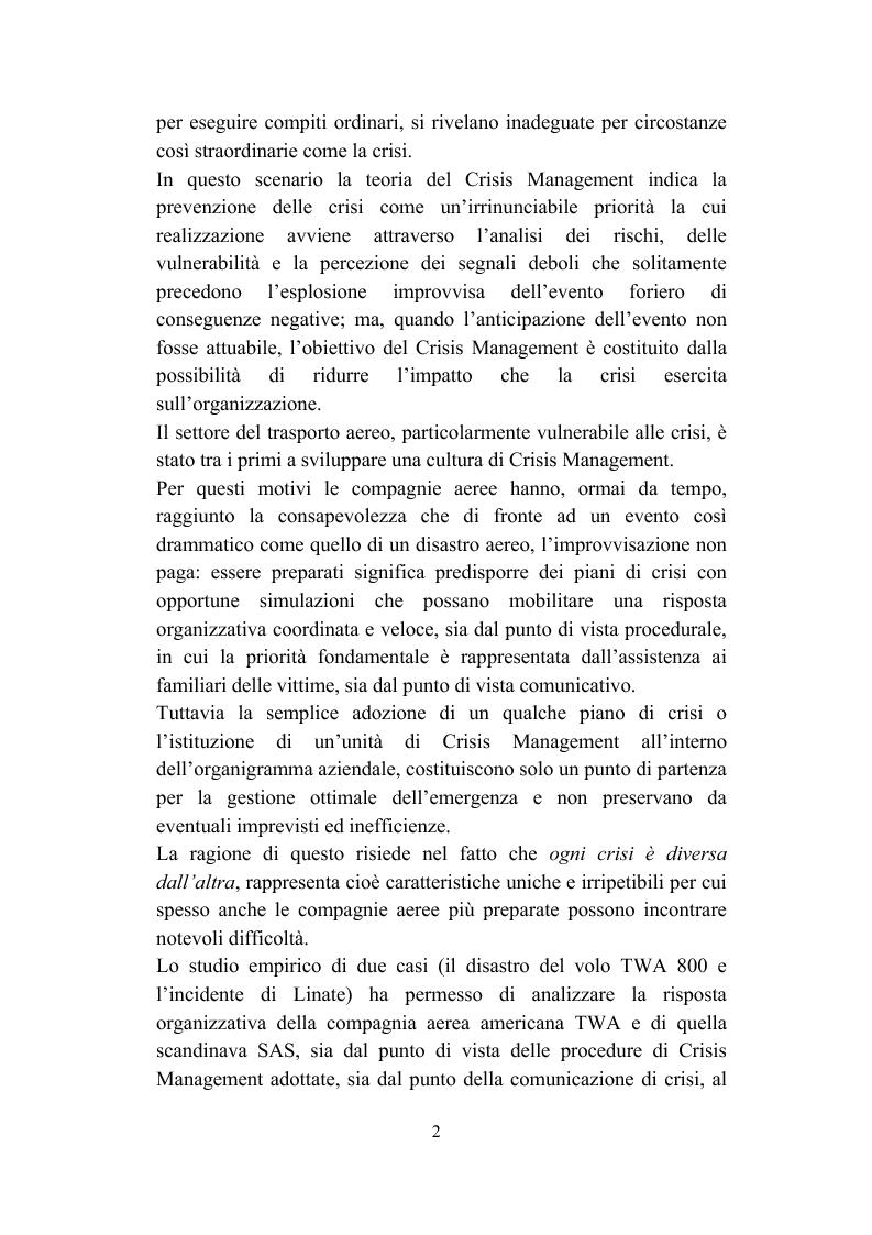 Anteprima della tesi: Il crisis management: disastri aerei e risposta organizzativa, Pagina 2