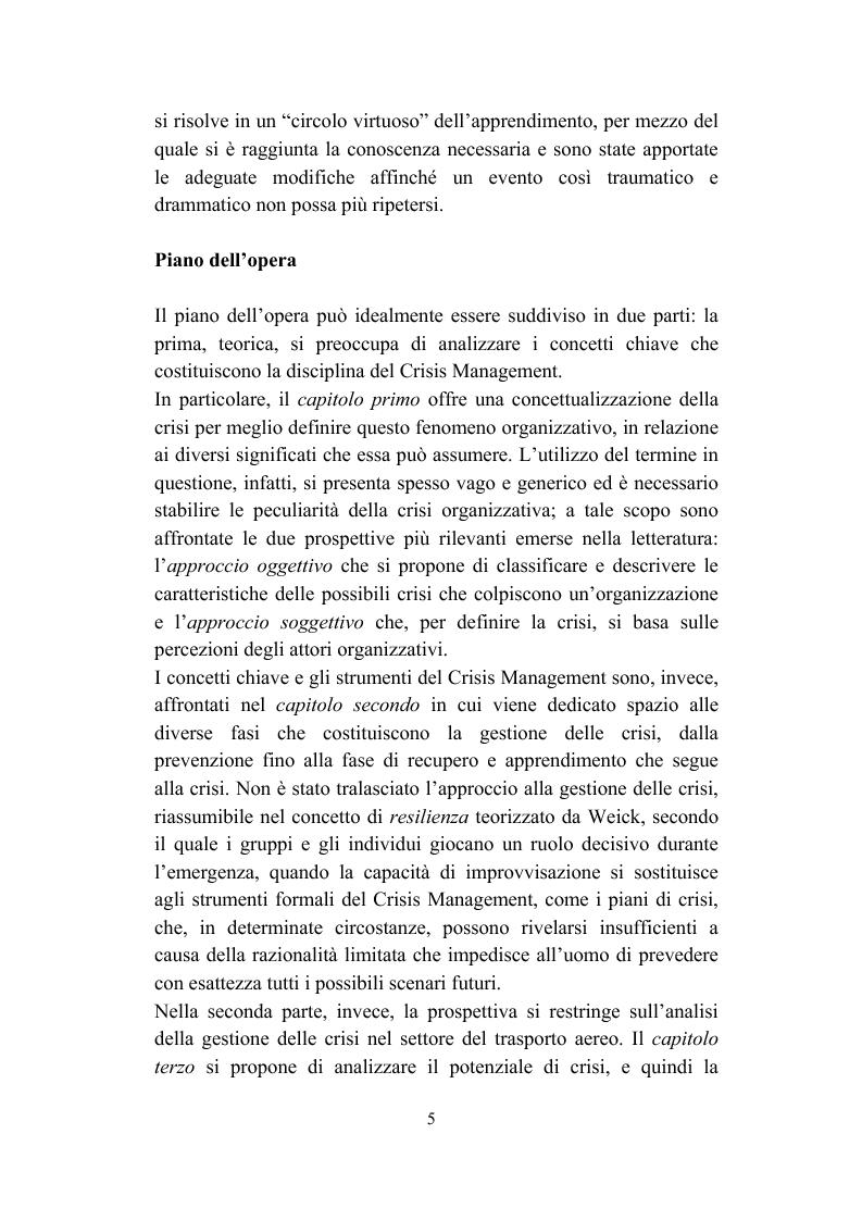 Anteprima della tesi: Il crisis management: disastri aerei e risposta organizzativa, Pagina 5
