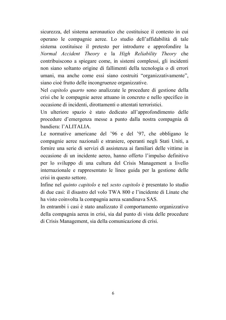 Anteprima della tesi: Il crisis management: disastri aerei e risposta organizzativa, Pagina 6