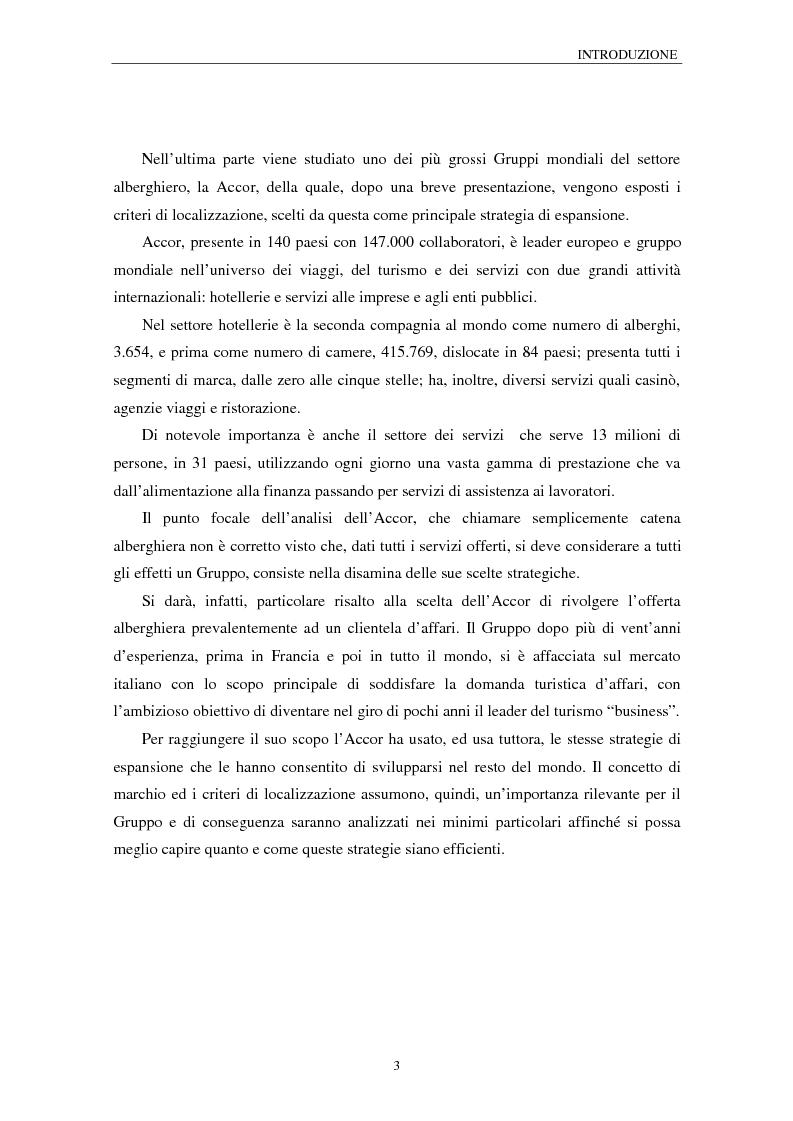 Anteprima della tesi: Nuove strategie competitive e processi localizzativi delle grandi catene alberghiere. Il caso Accor, Pagina 3
