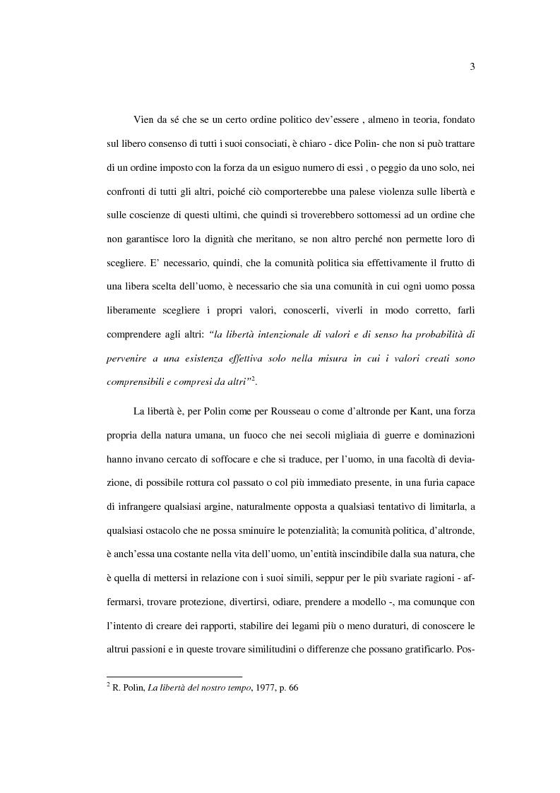Anteprima della tesi: La libertà politica: Raymond Polin, Pagina 3
