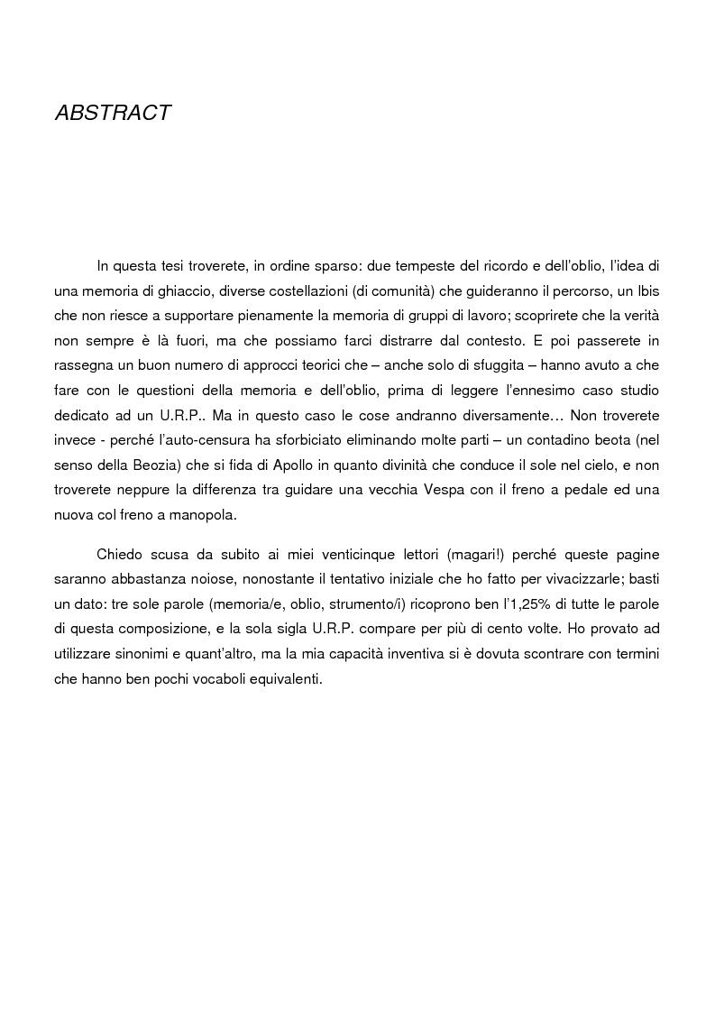 Anteprima della tesi: Sistemi di memoria e strategie di oblio in contesti organizzativi, nel caso dei nodi di contatto della Regione Emilia Romagna, Pagina 1