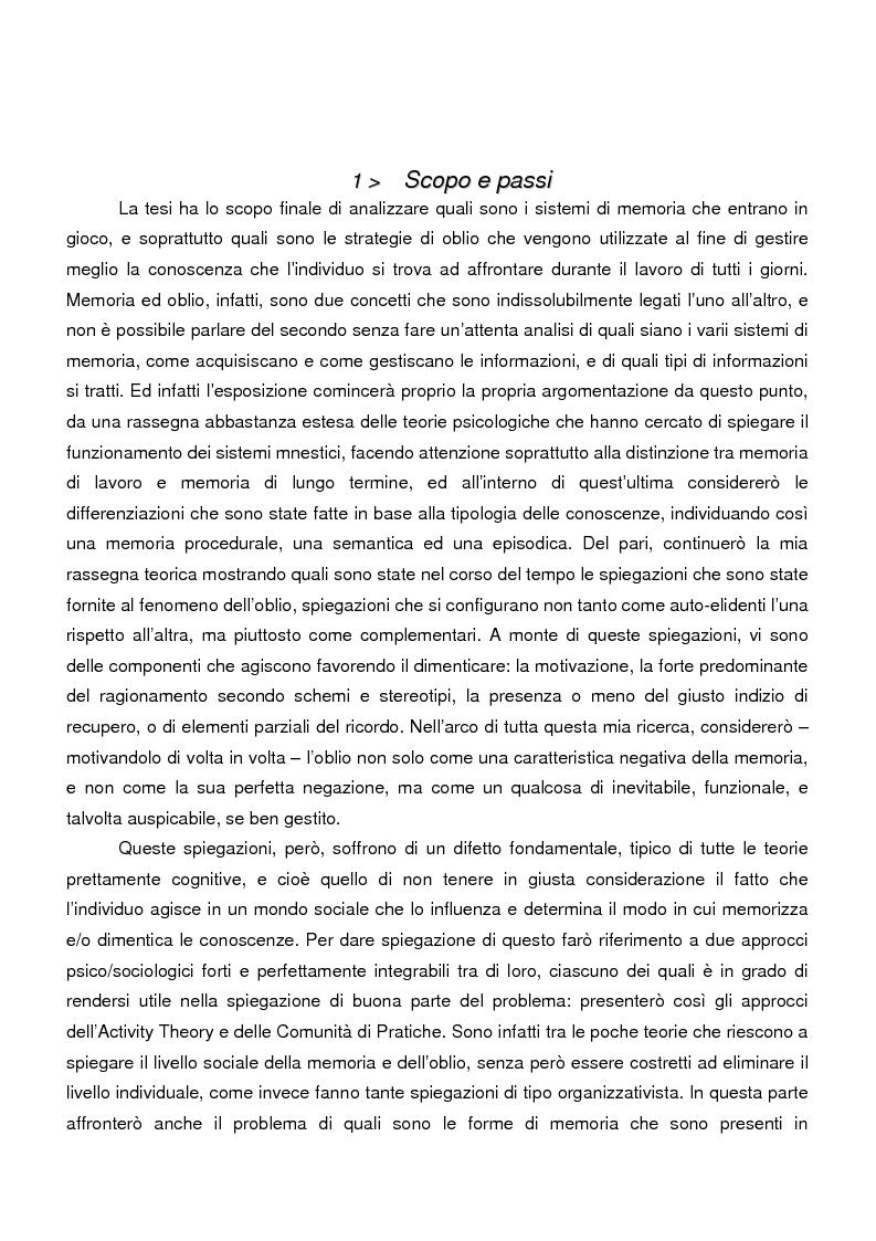 Anteprima della tesi: Sistemi di memoria e strategie di oblio in contesti organizzativi, nel caso dei nodi di contatto della Regione Emilia Romagna, Pagina 2