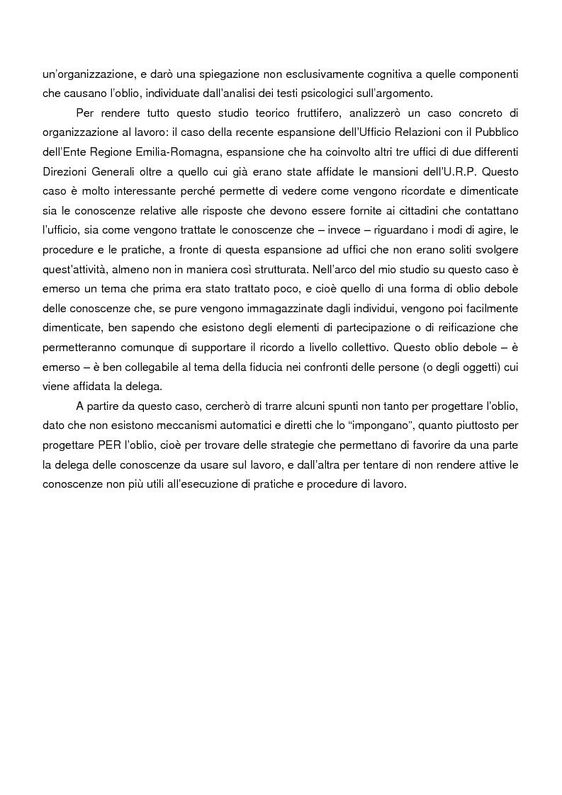 Anteprima della tesi: Sistemi di memoria e strategie di oblio in contesti organizzativi, nel caso dei nodi di contatto della Regione Emilia Romagna, Pagina 3