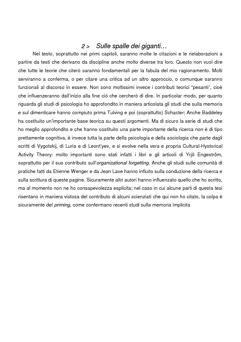 Anteprima della tesi: Sistemi di memoria e strategie di oblio in contesti organizzativi, nel caso dei nodi di contatto della Regione Emilia Romagna, Pagina 4