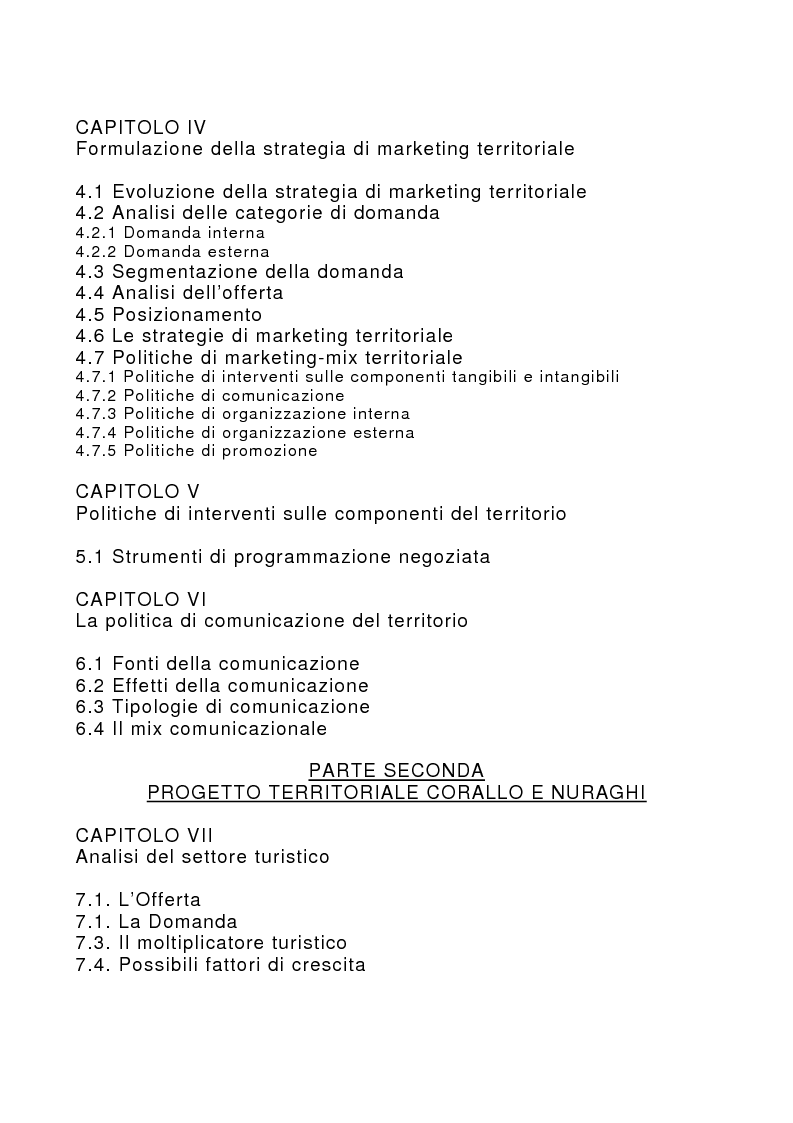 Indice della tesi: Marketing territoriale per lo sviluppo locale: il caso ''Corallo e Nuraghi'', Pagina 2
