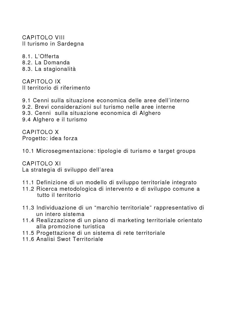 Indice della tesi: Marketing territoriale per lo sviluppo locale: il caso ''Corallo e Nuraghi'', Pagina 3