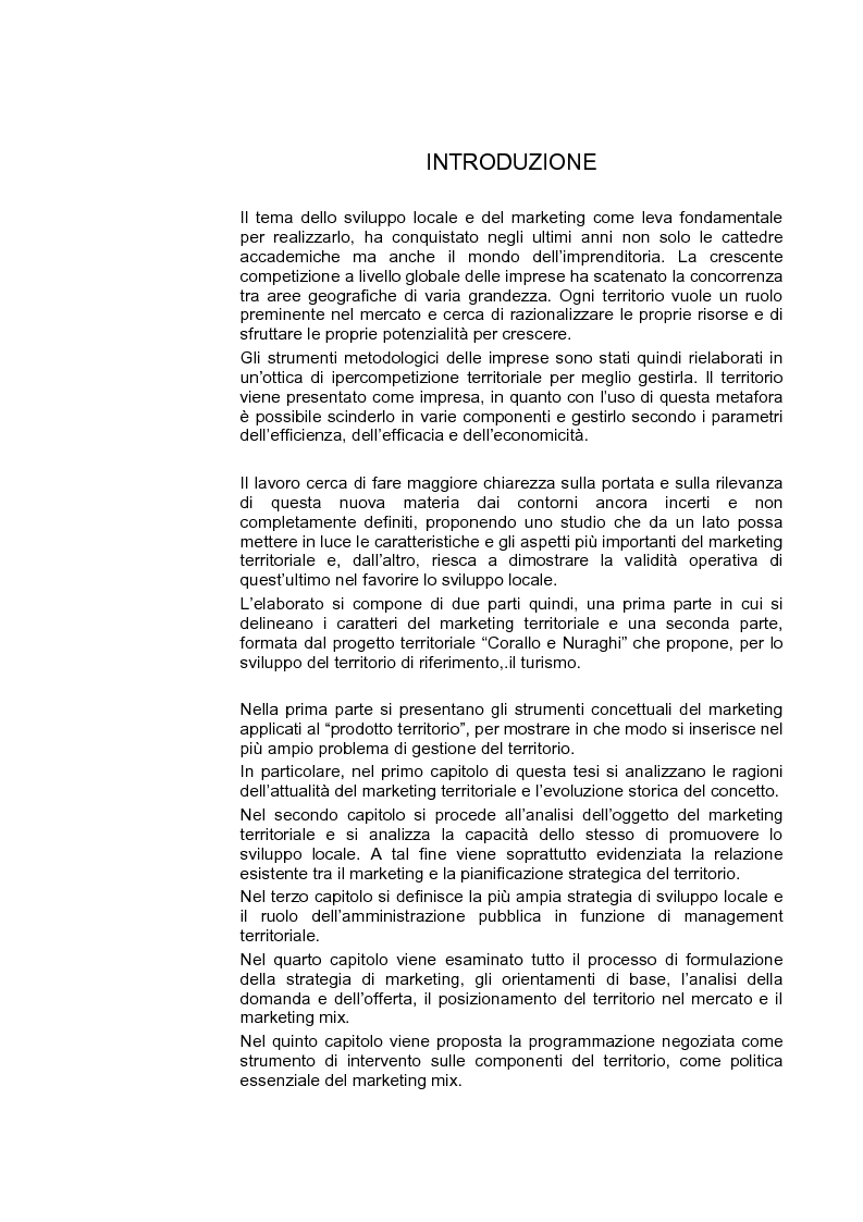 Anteprima della tesi: Marketing territoriale per lo sviluppo locale: il caso ''Corallo e Nuraghi'', Pagina 1